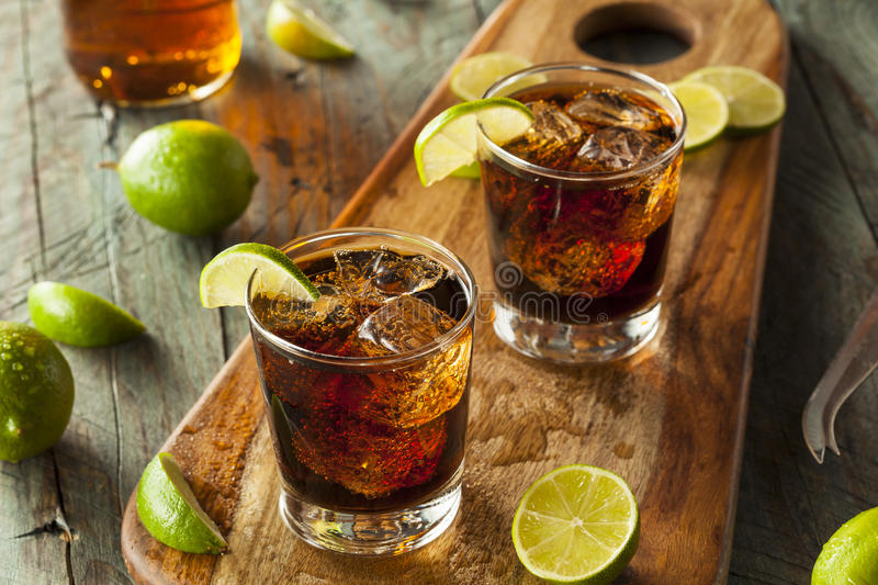 Rum and Cola Cuba Libre. With Lime and Ice royalty free stock images