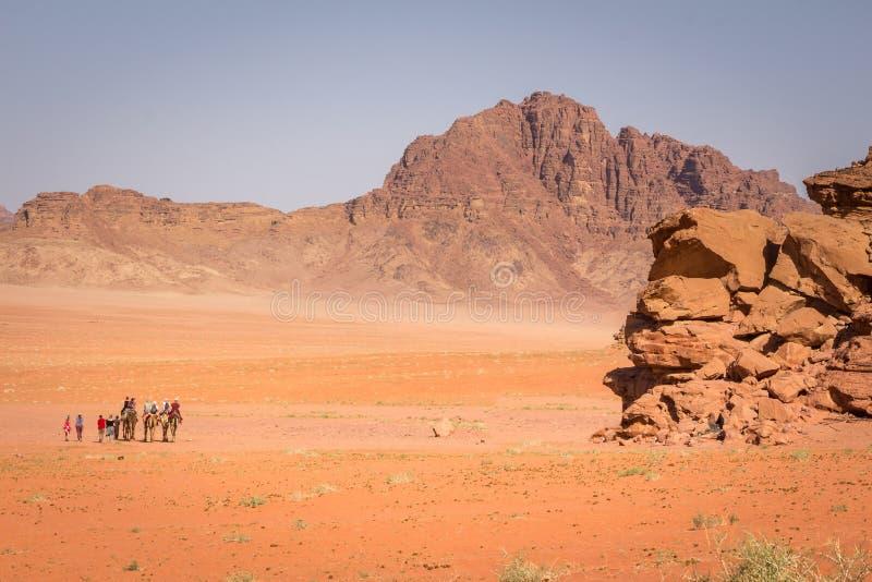 RUM DEI WADI, GIORDANIA - 28 APRILE 2016: Turisti sull'cammelli fotografie stock libere da diritti