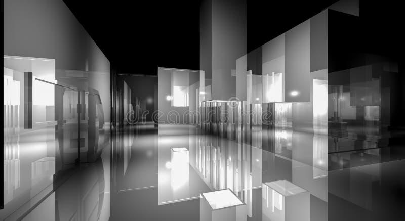rum för affären 3d, Hall byggnad med ljus och reflekterar. modernt stock illustrationer