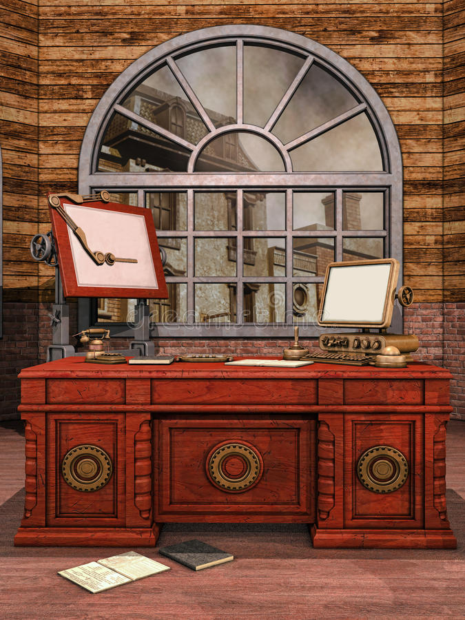 Rum för fantasitappningkontor royaltyfri illustrationer