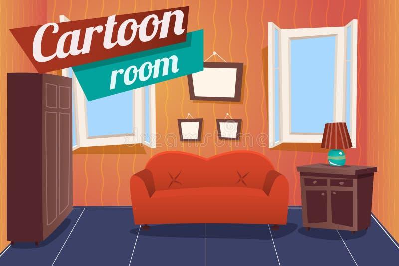 Rum för hus för tecknad filmlägenhetLivingroom inre vektor illustrationer
