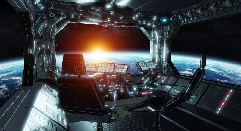 Rum för kontroll för rymdskeppgrunge möblerade inre med sikt på utrymme 3D som framför beståndsdelar av denna bild, vid NASA royaltyfri illustrationer