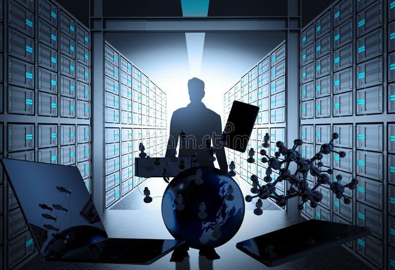 rum för server för nätverk 3d som begrepp arkivfoton