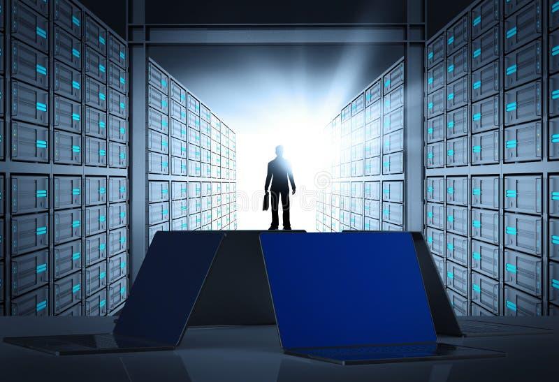 rum för server för nätverk 3d som begrepp royaltyfri illustrationer