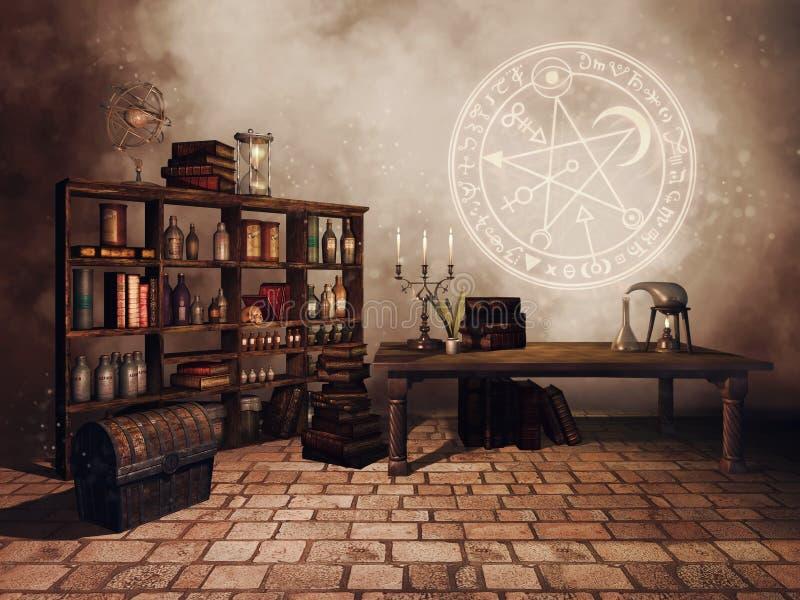 Rum för studie för alkemist` s royaltyfri illustrationer