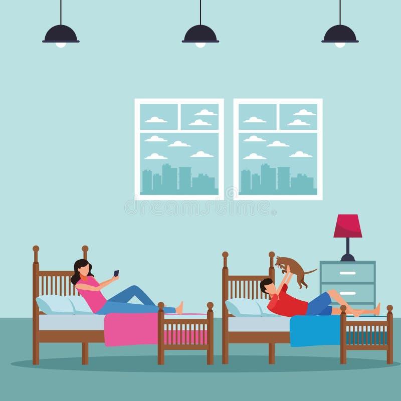 Rum för tvilling- säng och ansiktslöst folk vektor illustrationer