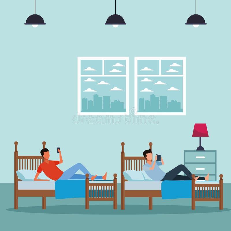 Rum för tvilling- säng och ansiktslöst folk royaltyfri illustrationer