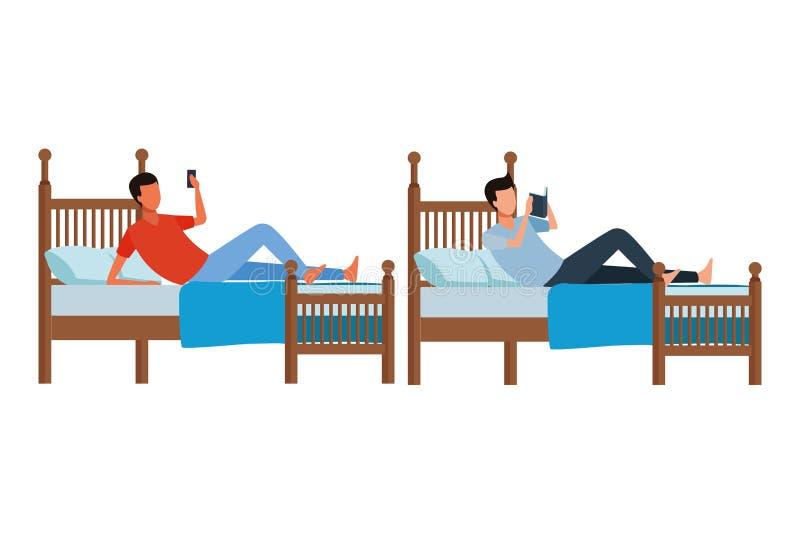 Rum för tvilling- säng och ansiktslöst folk stock illustrationer