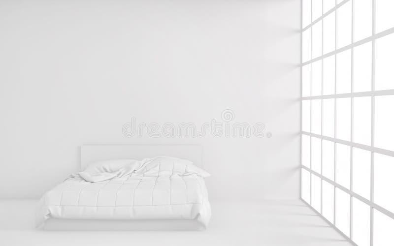 Rum för vitt ljus med säng, fönstret och den tomma bakgrundsväggen 3d framför vektor illustrationer