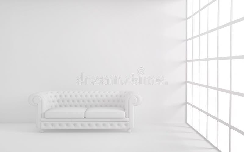 Rum för vitt ljus med soffan, fönstret och den tomma bakgrundsväggen 3d framför royaltyfri illustrationer