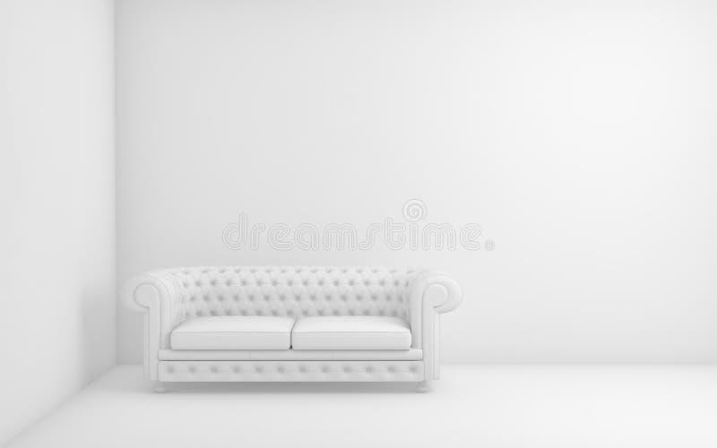 Rum för vitt ljus med soffan och den tomma bakgrundsväggen 3d framför royaltyfri illustrationer