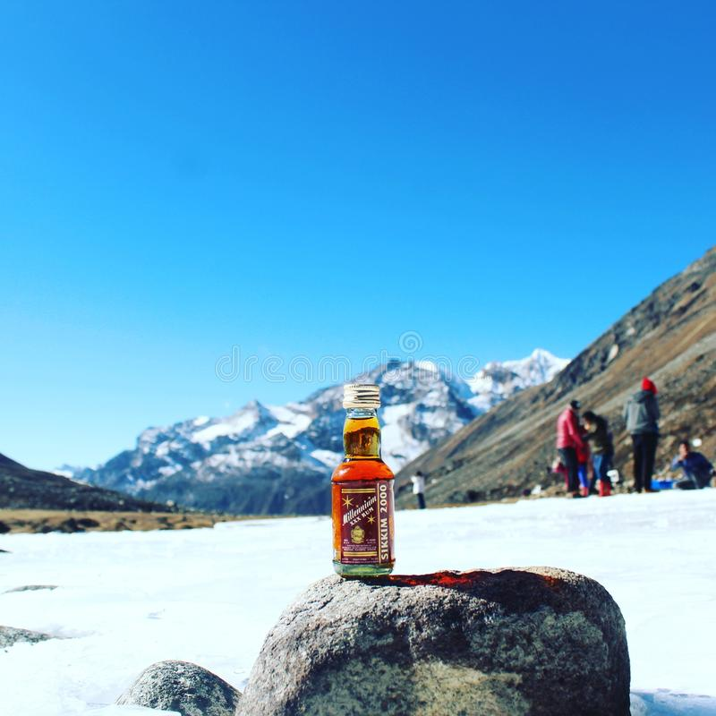 Rum at 15000ft from sea level royalty free stock images