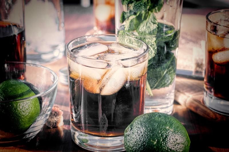 Rum with ice, Cuba Libra, alcohol, ice, glass, drink, rum, royalty free stock photo
