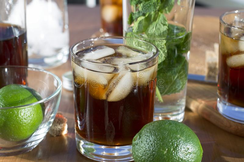 Rum with ice, Cuba Libra, alcohol, ice, glass, drink, rum, stock photos
