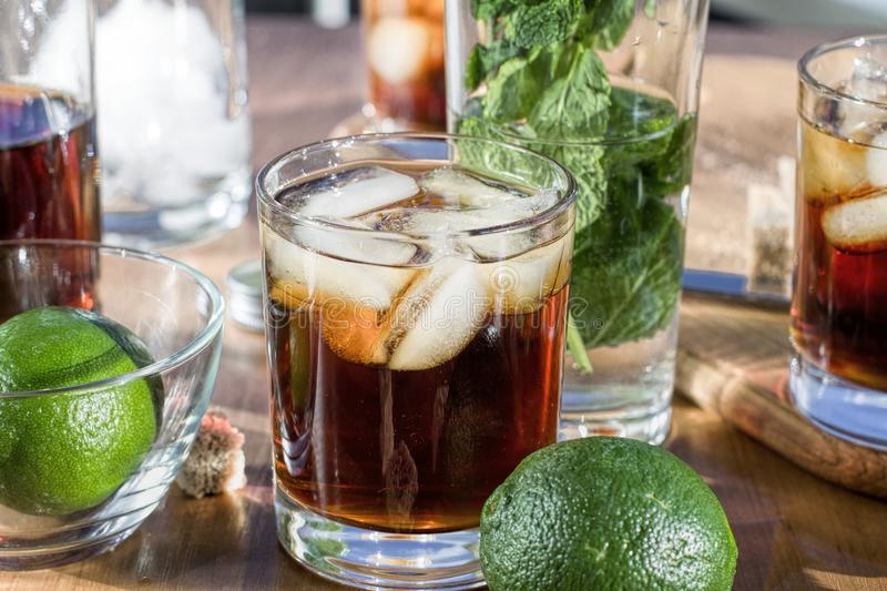Rum with ice, Cuba Libra, alcohol, ice, glass, drink, rum, stock images