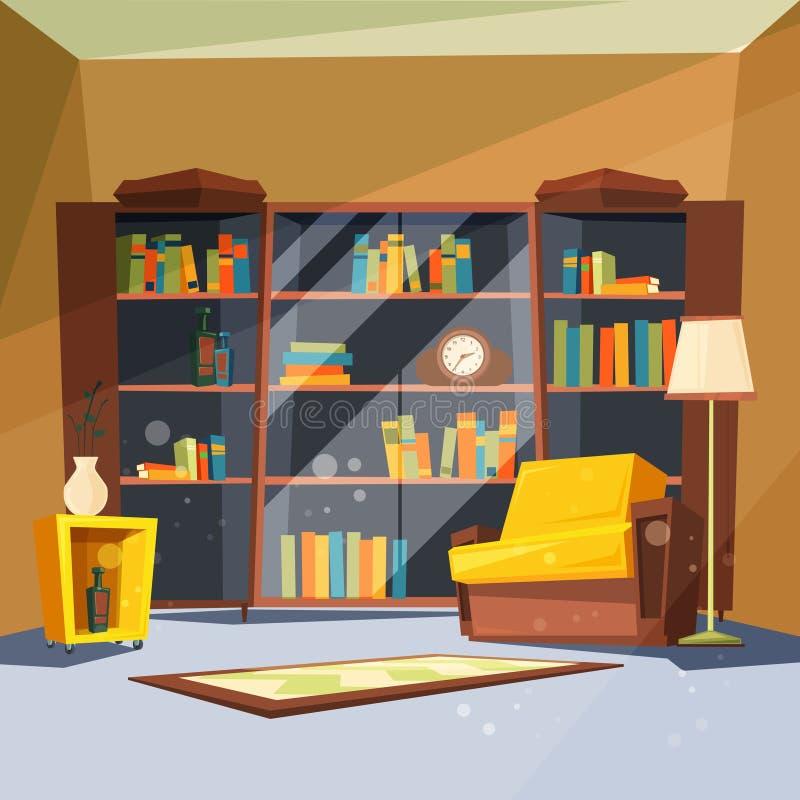 Rum med böcker Huslägenhet med hyllor för hem- arkiv inom av vardagsrum för att läsa vektorbilden royaltyfri illustrationer