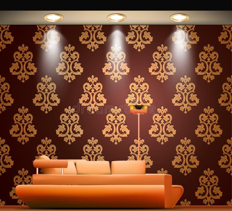 Rum med en soffa och ljusa källor vektor royaltyfri illustrationer
