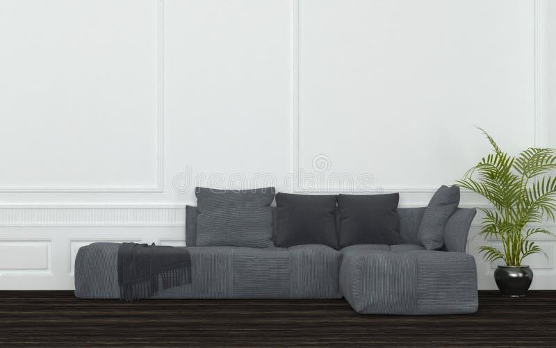 Rum med Grey Sectional Sofa och den lade in växten stock illustrationer