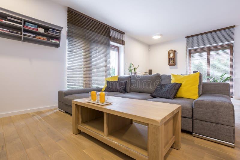 Rum med soffan och fönstret royaltyfria bilder