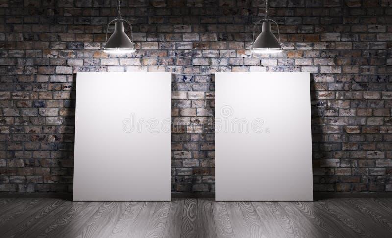 Rum med två affischer vektor illustrationer