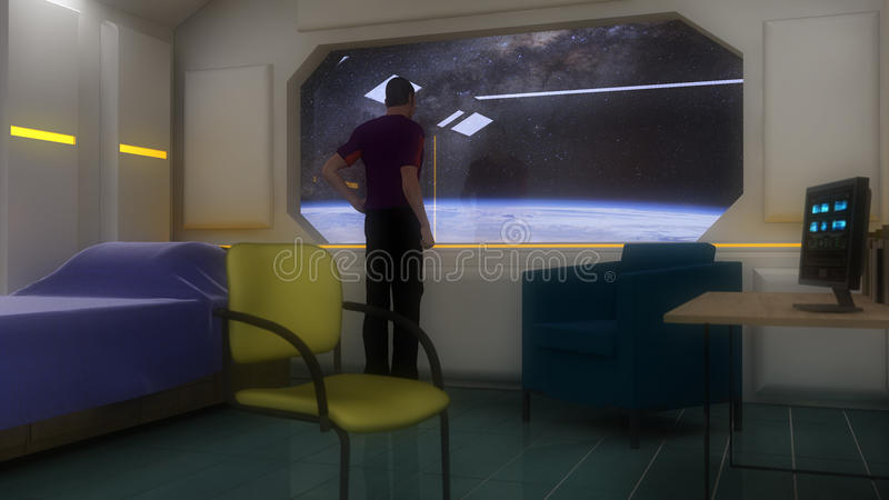 Rum och futuristisk planet vektor illustrationer