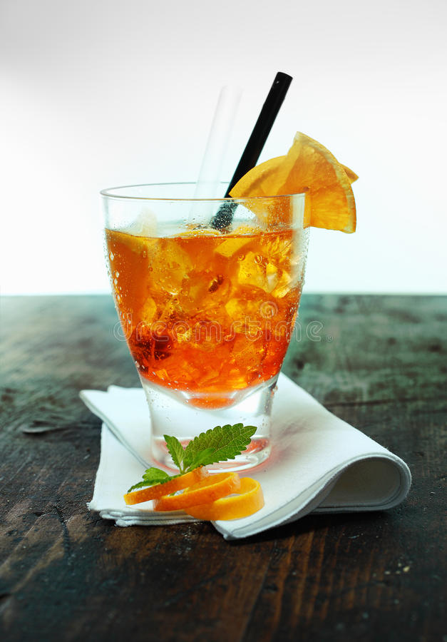 Rum and orange cocktail on a bar counter stock photo