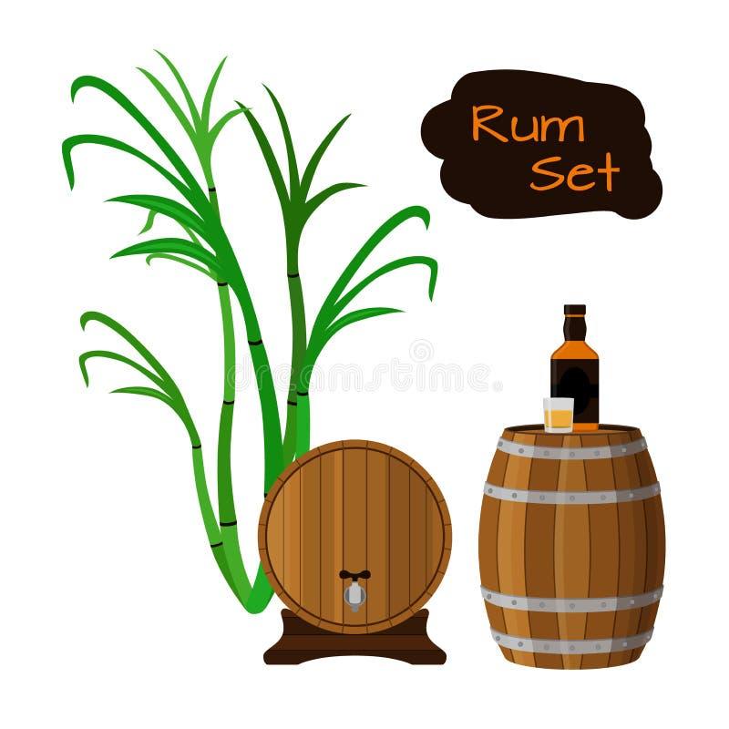 Rum set. Sugar cane, helm, barrels, glass, bottle of rum. Rum set. Sugar cane, helm, barrels, glass, bottle of rum Flat vector style royalty free illustration
