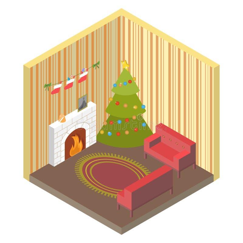 Rum som är isometriskt med julgranen, spisvektor stock illustrationer