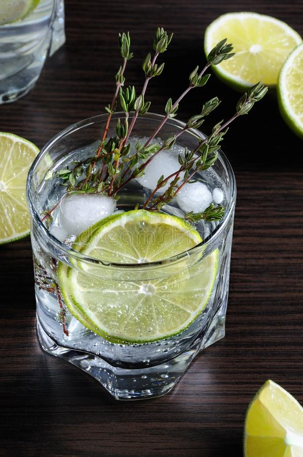 Rum and tonic. Cocktail with white rum and tonic, a slice of lime and thyme royalty free stock photo