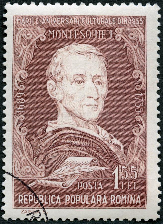 RUMANIA - 1955: demostraciones Charles-Louis de Secondat, Baron Montesquieu 1689-1755, filósofo, retratos de la serie foto de archivo