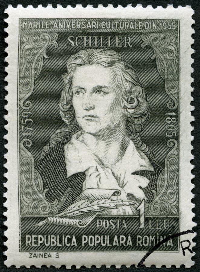 RUMANIA - 1955: demostraciones Friedrich von Schiller 1759-1805, poeta, retratos de la serie foto de archivo libre de regalías