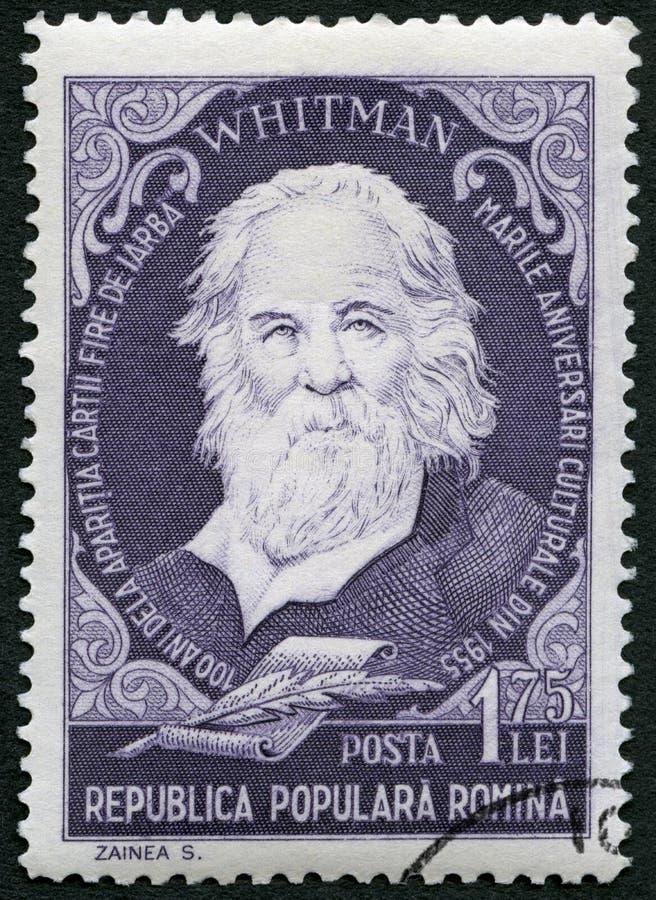 RUMANIA - 1955: demostraciones Walter Walt Whitman 1819-1892, poeta americano, retratos de la serie fotos de archivo