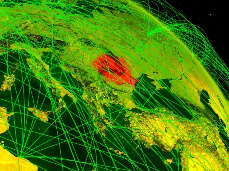 Rumania en el globo digital ilustración del vector