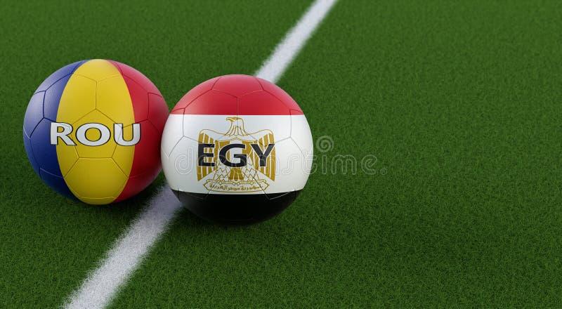 Rumania vs Partido de fútbol de Egipto - Balones de fútbol en Egipto y Rumania, colores nacionales en un campo de fútbol libre illustration