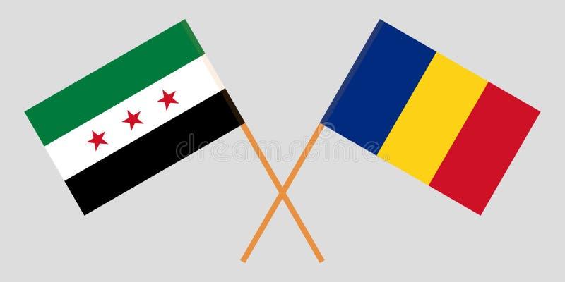Rumania y coalición nacional siria La oposición de Siria y las banderas rumanas Proporción oficial Colores correctos Vector stock de ilustración