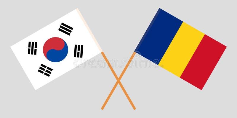 Rumania y Corea del Sur Las banderas rumanas y coreanas Proporción oficial Colores correctos Vector stock de ilustración