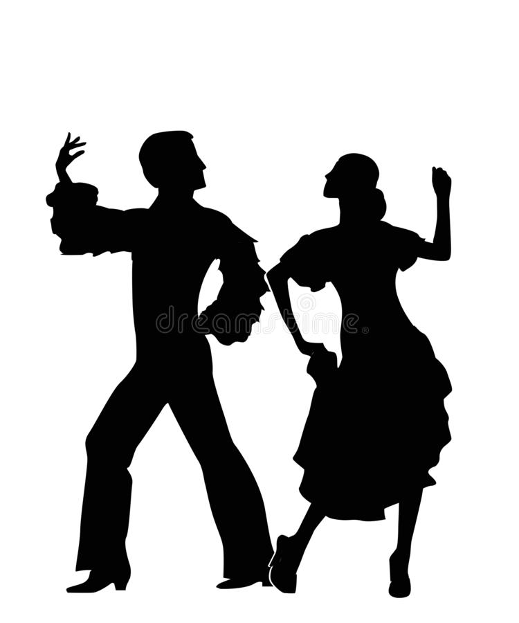 Rumba dancers silhouettes. Isolated and grouped objects over white background stock illustration