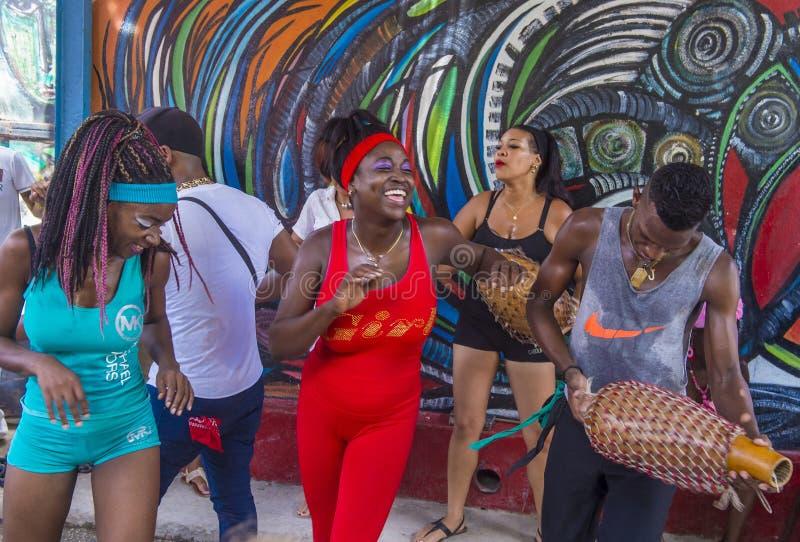 Rumba in Havana Cuba. HAVANA, CUBA - JULY 18 : Rumba dancers in Havana Cuba on July 18 2016. Rumba is a secular genre of Cuban music involving dance, percussion stock images