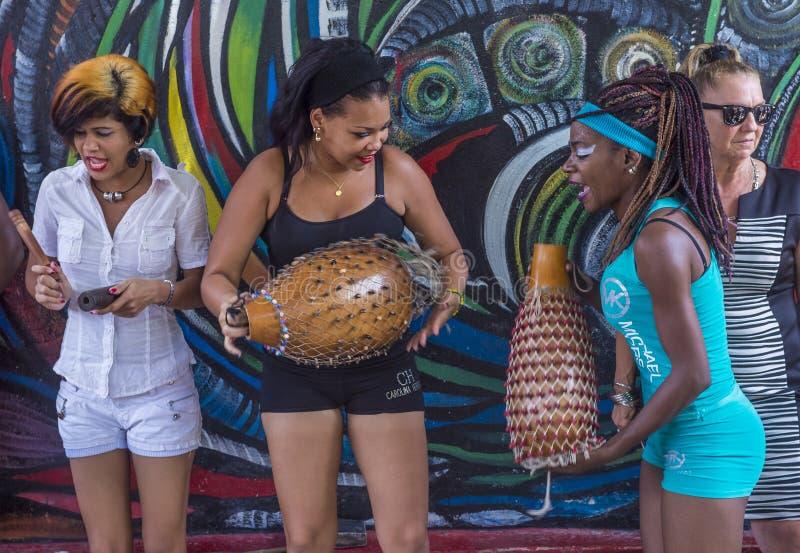Rumba in Havana Cuba. HAVANA, CUBA - JULY 18 : Rumba musicians in Havana Cuba on July 18 2016. Rumba is a secular genre of Cuban music involving dance stock photography