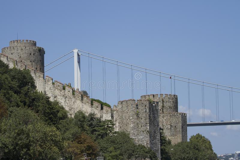 Rumeli Fortress, Istanbul Strait, Istanbul Turkey. The Rumeli Fortress, also known as the Boğazkesen fortress, is located in the Sarıyer district of the stock photography