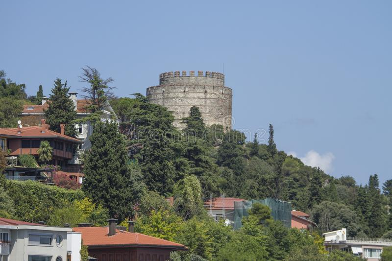 Rumeli Fortress, Istanbul Strait, Istanbul Turkey. The Rumeli Fortress, also known as the Boğazkesen fortress, is located in the Sarıyer district of the royalty free stock photos