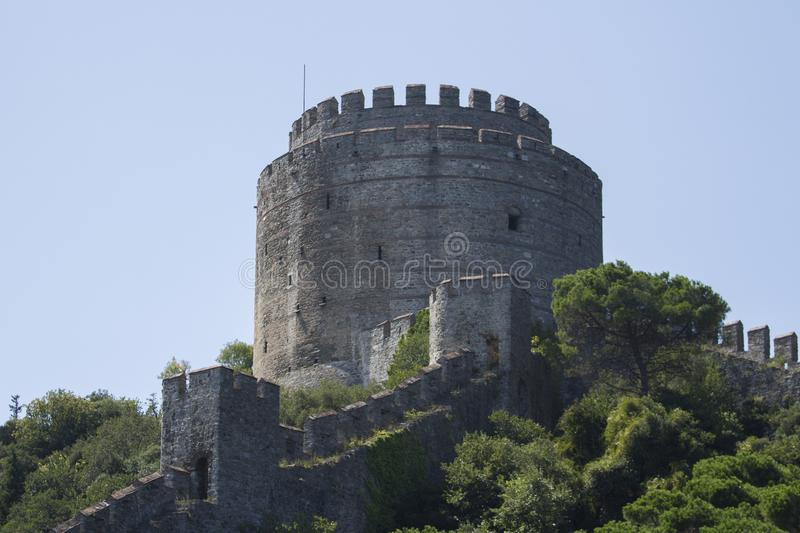 Rumeli Fortress, Istanbul Strait, Istanbul Turkey. The Rumeli Fortress, also known as the Boğazkesen fortress, is located in the Sarıyer district of the stock photo