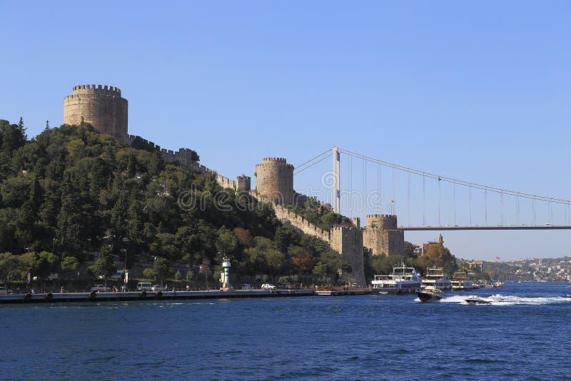 Rumelihisar堡垒,伊斯坦布尔,土耳其 免版税库存照片