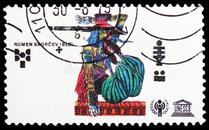 Rumen Skorcev, Bulgaria, International Year of the Child serie, circa 1979. MOSCOW, RUSSIA - FEBRUARY 21, 2019: A stamp printed in Czechoslovakia shows Rumen stock images