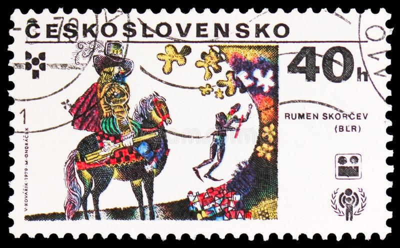 Rumen Skorcev, Bulgaria, International Year of the Child serie, circa 1979. MOSCOW, RUSSIA - FEBRUARY 22, 2019: A stamp printed in Czechoslovakia shows Rumen royalty free stock photos