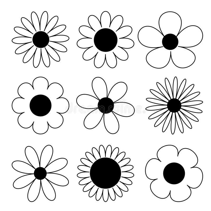 Rumianku du?y set Stokrotki chamomile linii sylwetki ikona Rumianku du?y set ?liczna round kwiatu g?owy ro?liny kolekcja grunge t ilustracja wektor