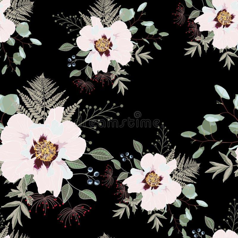 Rumienów różowi bukiety na czarnym tle Bezszwowy wzór z delikatnymi kwiatami royalty ilustracja
