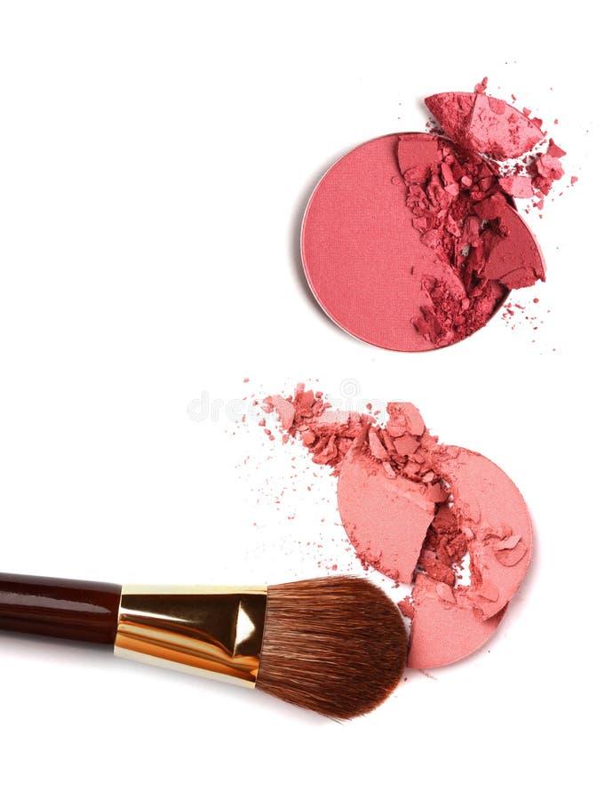 rumiena szczotkarski kosmetyk miażdżący palety proszek zdjęcia stock
