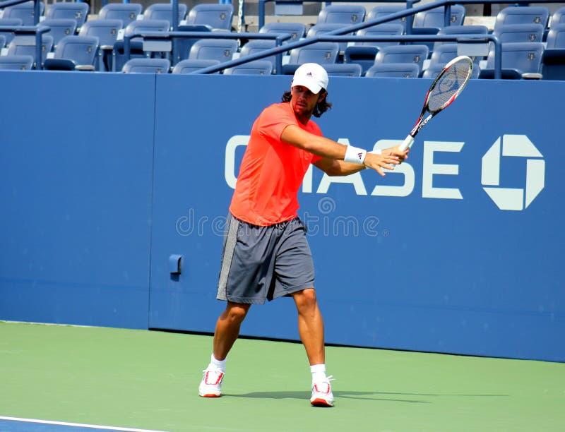 Fachowe gracz w tenisa Fernando Verdasco praktyki dla us open obraz royalty free