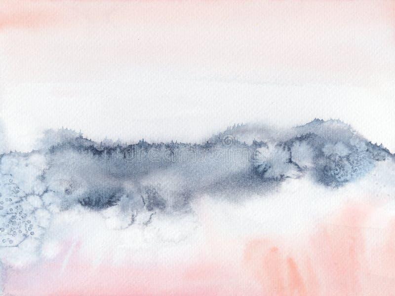 Rumieni się Różową i navyblue abstrakcjonistyczną rękę akwareli malujący krajobraz zdjęcie stock